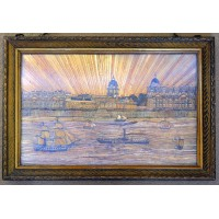 Extremely rare straw picture Royal Hospital for seamen – Greenwich London