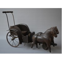 Victorian Toy - Child's Galloping Horse & Carriage